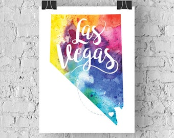 Custom Nevada Map Art, Nevada Watercolor Heart Map Home Decor, Las Vegas or Your City Hand Lettering, Personalized Giclee Print, 5 Colors