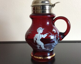 Vintage Cranberry Red Mary Gregory type Syrup hand painted boy with bird Metal Lid