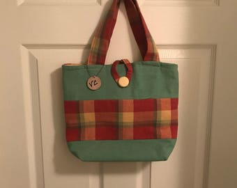 Small Green/Yellow/Rust Plaid Tote/Purse