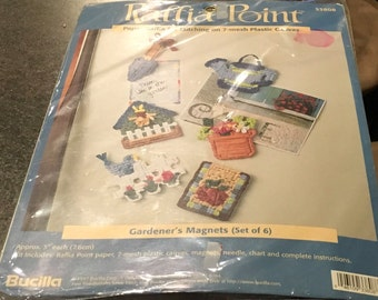Raffia Point Bucilla 33808 Gardener's Magnets Raffia Stitching On Plastic Canvas Gifts For Mom Stocking Stuffer DIY