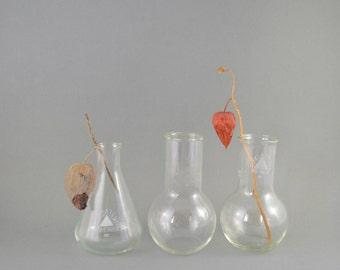 Vintage Flasks, Set of 3 Chemistry Flasks, Flat Bottom Flask, Erlenmeyer Flask, Science Conical Flask, Geekery Bud Vase, Laboratory Glass