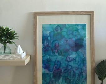 Original artwork framed australia ink abstract coastal