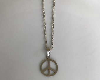 """Sterling Silver Peace Symbol Chain Necklace 16"""""""