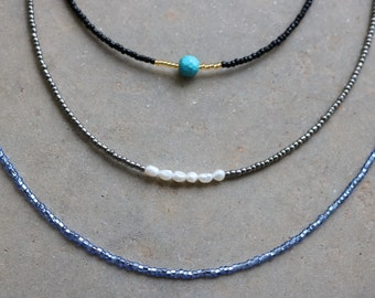 Seed Bead Choker (Freshwater Pearls, Turquoise, Periwinkle)