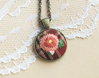 Burgundy Plaid Embroidered Wildflower Necklace, Plaid Necklace, Boho Necklace, Flower Anniversary, Fourth Anniversary, 4th Anniversary