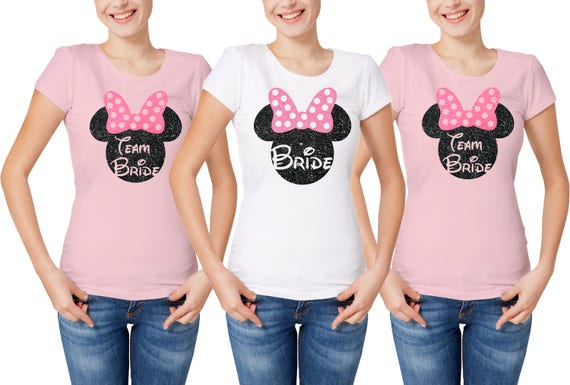 disney inspired wedding hen party team bride t shirts with. Black Bedroom Furniture Sets. Home Design Ideas