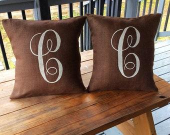 Burlap Pillow, Monogram Burlap Pillow, Rustic Pillow, Throw Pillow, Burlap Pillow, Outdoor Pillow,Chocolate Brown Pilllow, Dark Brown Pillow