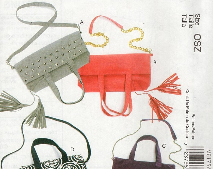 McCall's 6175 Sewing Pattern Free Us Ship Tote Bag Purse Handbag Clutch Day or Evening out New Out of Print