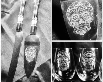 SUGAR SKULL wedding cake server and glass set, day of the dead, gift, personalised, crest, dia de los muertos, toast champagne, wine, whisky