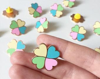 Lucky Clover enamel pin / pastel enamel pin / girl gang / rose gold pin / hard enamel pin / lucky clover badge