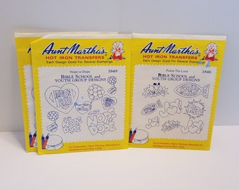 3 vintage Aunt Martha's Hot Iron Transfers / Say Nope to Dope / youth group Designs / vintage sewing / bible school / praise the lord
