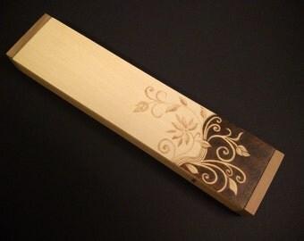 Wooden pencil box pyrography