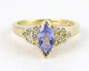 Gold Tanzanite Diamond Ring, Vintage 14K Gold Marquise Tanzanite And Diamond Ring