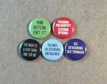 Blades of Glory Movie Quotes Fan Art Will Ferrell Jenna Fischer 5 - 1 Inch Pinback Button Pin Badge Set