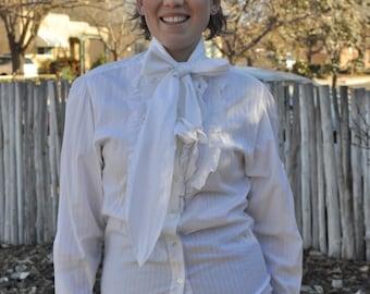 Vintage 1980s White Liz Clairborne Ruffle Front Blouse with Neck Tie