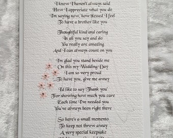 Thank You For Giving Me Away - Handmade Personalised Wedding Keepsake Poem Card