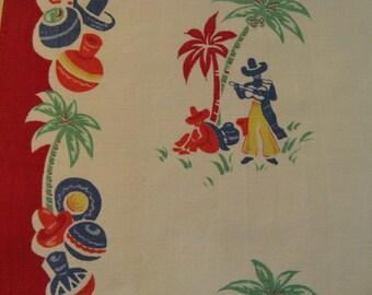 50's Vintage Cotton Tea Towel~~Southwest Theme Tea Towel~~Brightly Colored Tea Towel