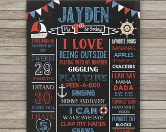 Nautical Chalkboard Poster, Nautical Chalkboard First Birthday, Any Age, Nautical Poster, Nautical Sign Birthday Party, Photo Prop