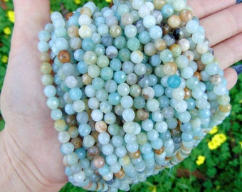 "6mm Faceted Light Blue Amazonite Beads, 16"" strand, 