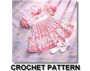 baby dress, crochet, pattern, baby crochet dress pattern, vintage pattern, spider web design crochet pattern