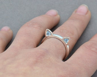 Sterling Silver Cat Ring, Cat Ear Ring, Cat Lover Ring, Cat Jewellery, Animal Lover Gift, Cat with Ears, Kitty Ring, Birthstone Ring