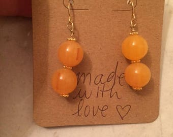 Gold orange/yellow beaded earrings, dangle earrings