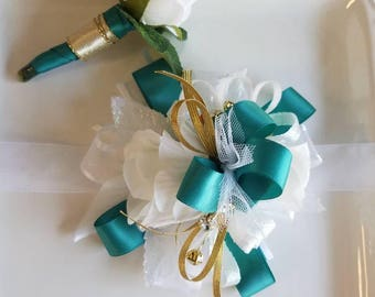 ON SALE Teal Prom Corsage Teal White and Gold Wrist Corsage and Matching Boutonniere  Prom Homecoming ready to ship