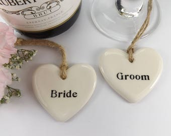 Set of 8 Heart Shaped Ceramic Top Table Wedding Favours