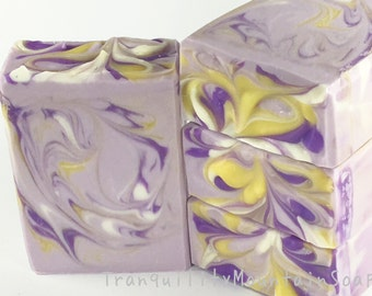 LAVENDER CHAMOMILE Handmade Soap Shea Butter Soap Artisan Soap Bath and Body Relaxation Gift Purple Soap Bedtime Soap Tranquility Mountain