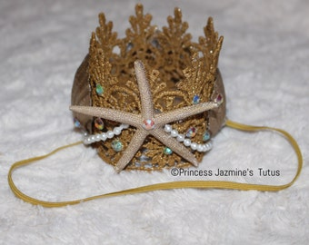 Mermaid lace crown  . Mermaid princess . Mermaid headband crown . Photo props . Mermaid crown . Mermaid photo shoot