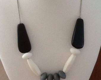 Black, Grey & White adjustable resin beaded necklace