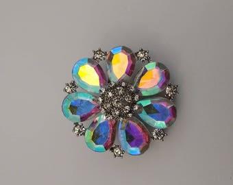 Stunning AB Coated Flower Brooch......UK