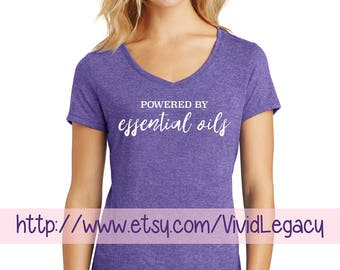 Powered by Essential Oils Womens V-Neck Shirt