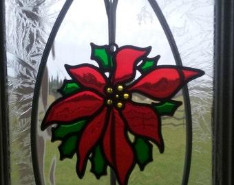 Poinsettia Faux  Stained Glass Ornament//Poinsettia Sun Catcher//Vintage Christmas Ornament