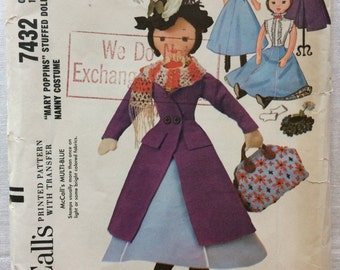 Vintage 1964 McCall's UNCUT New 7432 Mary Poppins Stuffed Doll with Nanny Costume Pattern