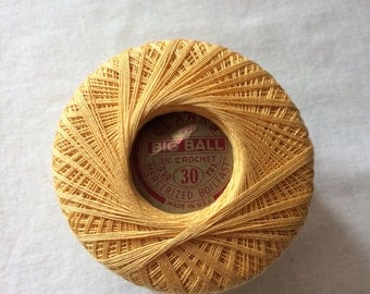 New Ball Cotton Crochet Thread Size 30, 250 yards by Clark's - Color 43 Yellow Gold - Crochet, Tatting, Knit, Lace, Needlepoint