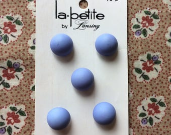 "Vintage 5 New Blue Round Half Ball Buttons 7/16"" On Card Plastic by la petite"