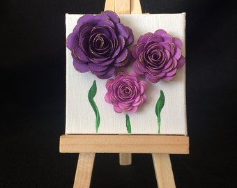 Mini easel art, paper flowers, purple ombre, gift for girl, nursery decor, ready to ship, handmade in USA by papers bloom