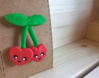 Sweet Cherry Fimo Brooch. Cute gift