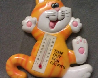 Yellow and Orange Cat Thermometer Time Out for Catfits With Magnet