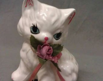 White Cat with Blue Eyes Pink Ears Nose and Mouth with Roses Sitting Up Cat Figurine