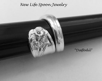 "Spoon Ring ""Daffodil"" Vintage Recycled Silverware Handmade Jewelry Christmas Gift Spoon Jewelry Fork JewelryGift for Her"