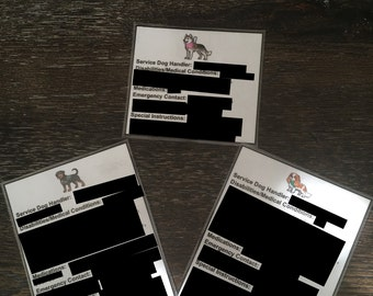 ICE Service Dog Handler Cards