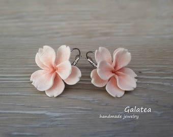Sakura earrings 925 silver plated Cherry blossom earrings Japanese Pink flower polymer clay earrings Sakura jewelry romantic gift for her