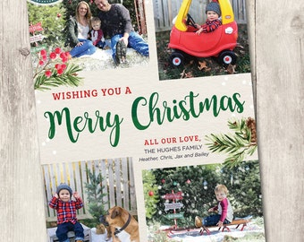 Printable photo Christmas card, Merry Christmas printable family holiday card with photos, personalized, watercolor holly and snowflakes