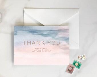 Rose Quartz and Serenity Watercolor, Watercolor Thank You Cards, Rose Gold Texture, Rose Quartz Pink Watercolor - Pastel Thank You Cards
