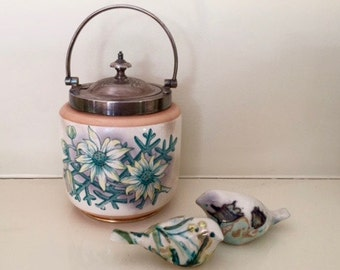 W.Wood & Co Staffordshire Pottery jar with Wand H  Silverplate Lid / Antique Pottery and Silverplate Pot / Vintage Kitchen Decor / Sheffield