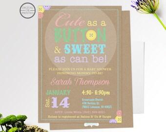 Cute As A Button Baby Shower Invitation | Cute As A Button Invitation |  Pastel Baby