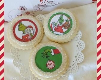 Grinch Christmas Cookies Custom Sugar Cookie Favors-1 Dozen