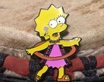 Orange hula hoop lisa hat pin